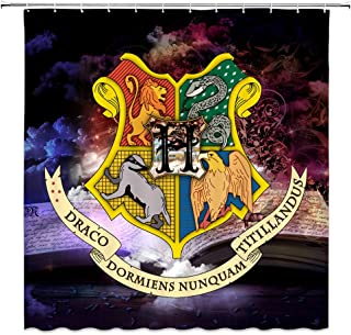 AMNYSF Fantasty Badge Decor Shower Curtain Magic School of Witchcraft and Wizardry Logo with Magical Book Fabric Bathroom Curtains,70x70 Inch Polyester with Hooks