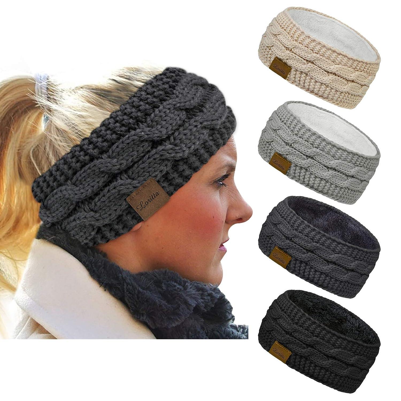 Loritta 4 Pack Womens Winter Headbands Fuzzy Fleece Lined Ear Warmer Cable Knit Thick Warm Crochet Headband Gifts,Multi A