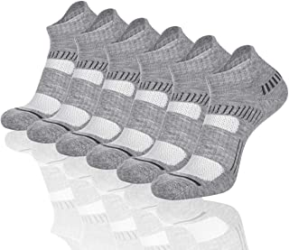 Cooplus Mens Ankle Socks Athletic Cushioned Breathable Low Cut Tab With Arch Support-6Pairs