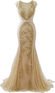 Women's Long V-Neck Beaded Prom Dress Mermaid Backless Evening Dress