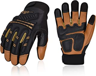 Vgo 32℉ or above Winter Waterproof High Dexterity Heavy Duty Mechanic Glove,Rigger Glove,Anti-vibration,Anti-abrasion,Touchscreen(Size M,Brown,GA8954)