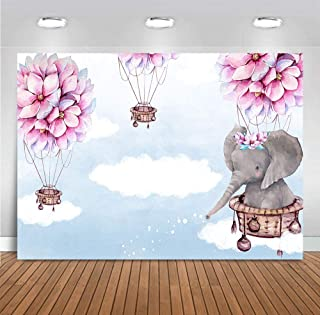 Fanghui 7x5FT Elephant Hot Air Balloon Up Up and Away Photography Backdrop Pink Flower Baby Shower Birthday Party Banner Decoration Supplies Photo Booth Studio Props Vinyl Background