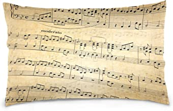 Mydaily Music Notes Vintage Throw Pillow Case Cotton Velvet Rectangular Cushion Cover 20x36 inch
