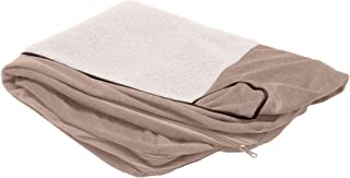 Furhaven Pet Dog Bed Cover | Faux Fleece & Chenille Soft Woven Traditional Sofa-Style Living Room Couch Pet Bed Replacemen...