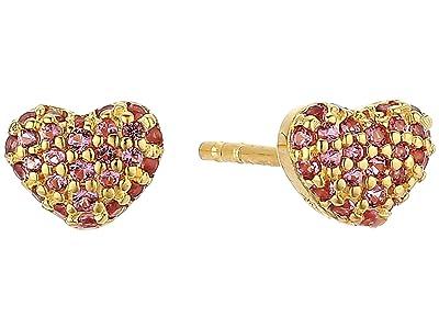 Michael Kors Sterling Silver Heart Stud Earrings (14K Gold Plating) Earring