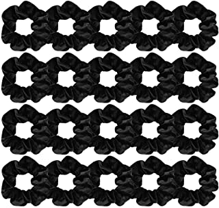 FASOTY 20 Pack Hair Scrunchies Black Velvet Elastics Scrunchy Bobbles Soft Hair Bands Hair Ties Black Scrunchies for Hair