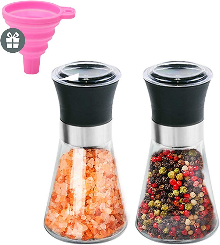 Nozama Stainless Steel Salt And Pepper Grinder Set Tall Salt And Pepper Shakers With Adjustable Coarseness Salt Grinders And Pepper Mill Shaker Set Equipped With Silicone Funnel
