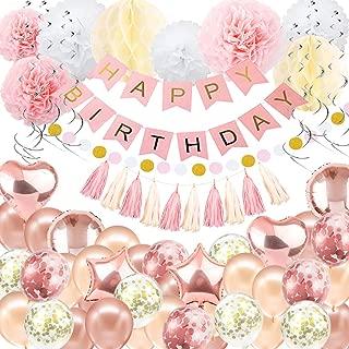 Birthday Decorations Balloon Banner – Rose Gold Happy Birthday Decoration, Happy Birthday Banner, 16th 18th 21st 30th 50th 60th Birthday Balloons Birthday Party Decoration for Women girls