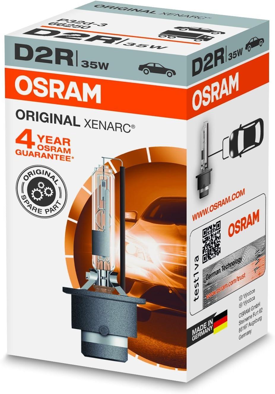 OSRAM XENARC ORIGINAL D2R HID, lámpara de xenón, lámpara de descarga, calidad de equipamiento original (OEM), 66250, estuche (1 unidad)