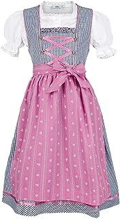 Isar-Trachten Dziewczęca dirndl dziecięca granatowa różowa z bluzką, granatowa,