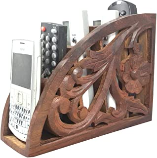Handmade Wooden Remote Holder, A/c TV Remote Holder Stand, Remote Organizer for Living Room, Brown Color 7.5 Inch