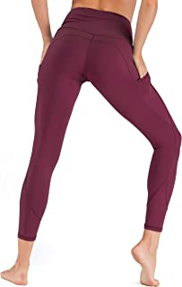 Womens High Waist Yoga Pants with Pockets Tummy Control Workout Running Gym Non See-Through 4 Way Stretch Leggings