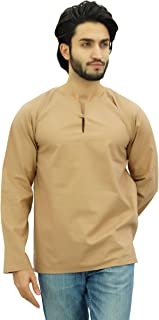Atasi Men's Short Kurta Round Keyhole Neck Cotton Tunic Shirt
