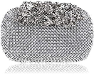 Handbags - Women's Vintage Banquet Dinner Bag, Cross Square High-end Diamond Bag, Gold/Silver/Black, 16x5.5x9.5CM Fashion (Color : Silver)