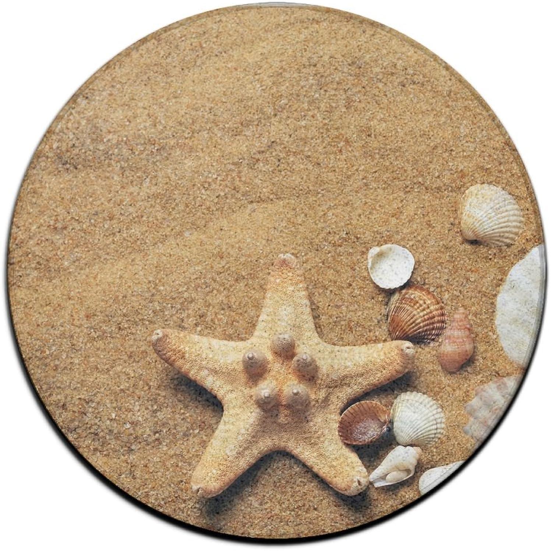 R-ANSXYX Doormat Beach Seashell Starfish Sand Non-Slip Round Rug Mat For Home Indoor Kitchen Bathroom 60cm
