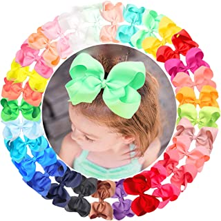 CÉLLOT 30 Colors 6 Inch Bows for Baby Girls Big Grosgrain Girls 6 Hair Bows Alligator Clips For Teens Kids Toddlers