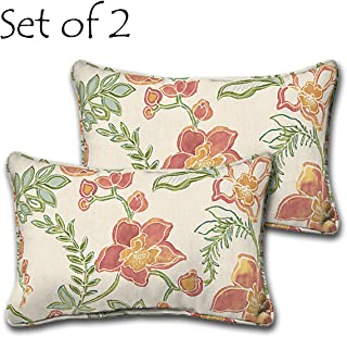 Comfort Classics Inc. Set of 2 Lumbar Pillow Addison with Welt 20x13x4.25 Polyester Fabric in Floral Print