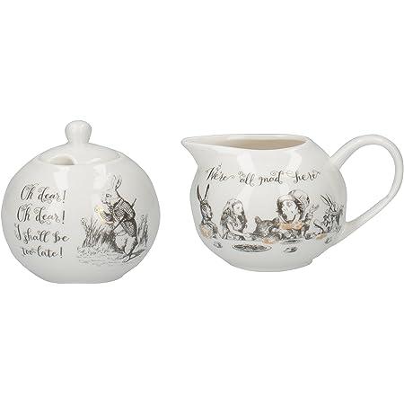 Creative Tops V & A Alice au Pays des Merveilles Pot à Lait et sucrier avec Ensemble de décoratifs artistiques, en Porcelaine, Blanc, 18x 7.5x 7cm