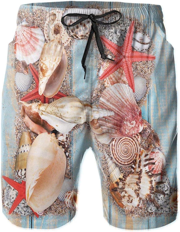 Tropical Animals in Alphabet Art Ocean Letter R Seashells Starfish Swimming Trunks for Men Beach Shorts Casual Style,XL