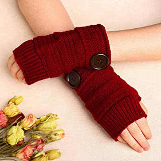 Zoestar Winter Arm Warmers Crochet Knit Fingerless Gloves with Thumb Hole Arm Gloves for Women and Men (Red)