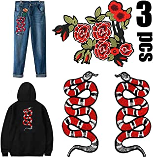 Snake Patch-3PCS Big Iron on Patches Clothes Patches, Suitable for Women Animal Embroidered Decal Sew Patches Clothes Accessories for for T-Shirt Jeans Clothing Bags