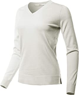 A2Y Women's Fitted Long Sleeve Side Slit Viscose Acrylic Sweater