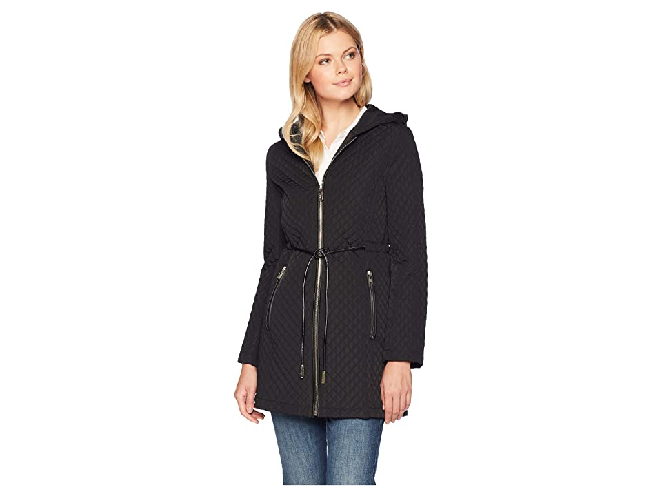Ivanka Trump Tie Waist Quilt Jacket with Hood (Black) Women