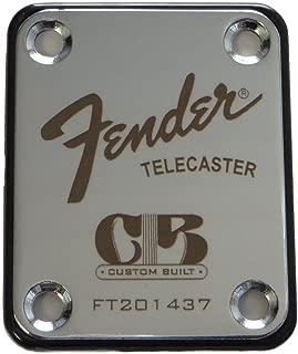 Fender Telecaster Neck Plate with Custom Built logo - Silver