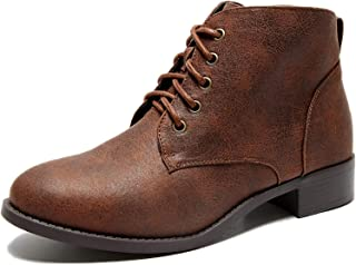 Women's Wide Width Ankle Boots, Low Heel Lace Up Side Zipper Booties Cozy Comfortable Shoes.