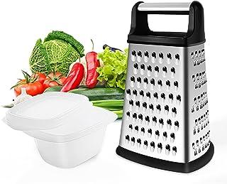 Gelrova Râpe 4 côtés en Acier Inoxydable - Râpe de Cuisine pour râper grossièrement et Fine, pour Fruits, légumes, Carotte...