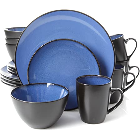 Gibson Elite Soho Lounge Round Reactive Glaze Stoneware Dinnerware Set, Service for Four (16pcs), Blue/Black
