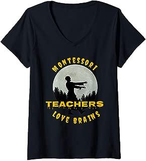 Womens Montessori Teachers Love Brains Funny Halloween Novelty Gift V-Neck T-Shirt