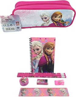 Disney Frozen Queen Elsa, Princess Anna & Olaf Stationary Set + Pencil Pouch Combo Pink