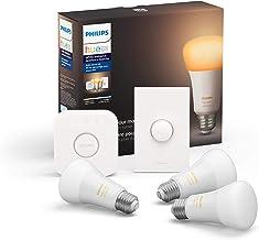 Philips Hue White Ambiance LED Smart Button Starter Kit, 3 A19 Smart Bulbs, 1 Smart Button & 1 Hue Hub (Works with Alexa, ...