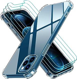 ivoler Fodral Kompatibel med iPhone 12 Pro/iPhone 12 6,1+3 Pack Tempered Glass Screen Protector, TPU silikon stötsäkert te...
