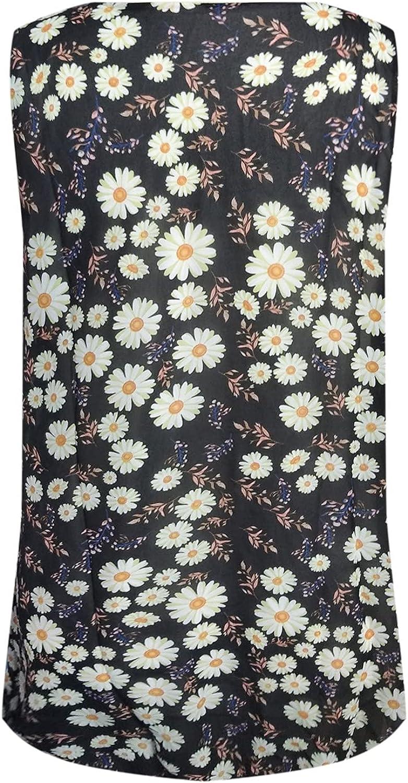 Women's Summer Casual V-Neck Sleeveless Little Daisy Print Tank Tops