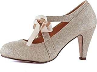 Womens Vintage Mary Jane Pumps Low Kitten Heels Retro Round Toe Shoe with Ankle Strap