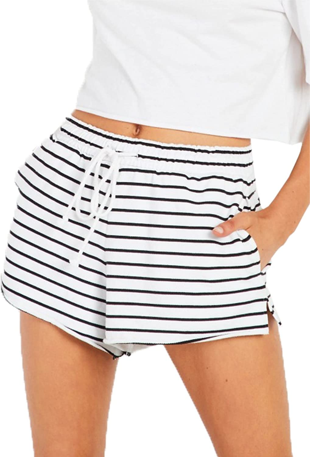 Famulily Women's Drawstring Elastic Waist Casual Comfy Striped Beach Shorts with Pockets