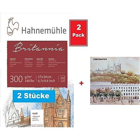 30 x 40 cm Carta per acquerelli Hahnem/ühle Britannia 12 fogli opaca 300 g//m2 2 Blocco