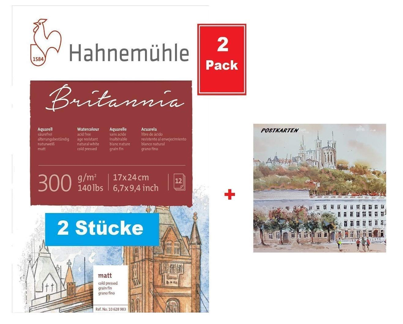 2 Pack de ahorro Hahnemühle 10628983 Acuarela, Calligra phie de, certificados de postal y bloques Bloc para acuarelas 300 g 12 hojas (170 x 240 mm): Amazon.es: Oficina y papelería