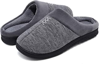VIFUUR Men's Comfy Fuzzy Knitted Memory Foam Coral Fleece Slip On House Slippers Indoor