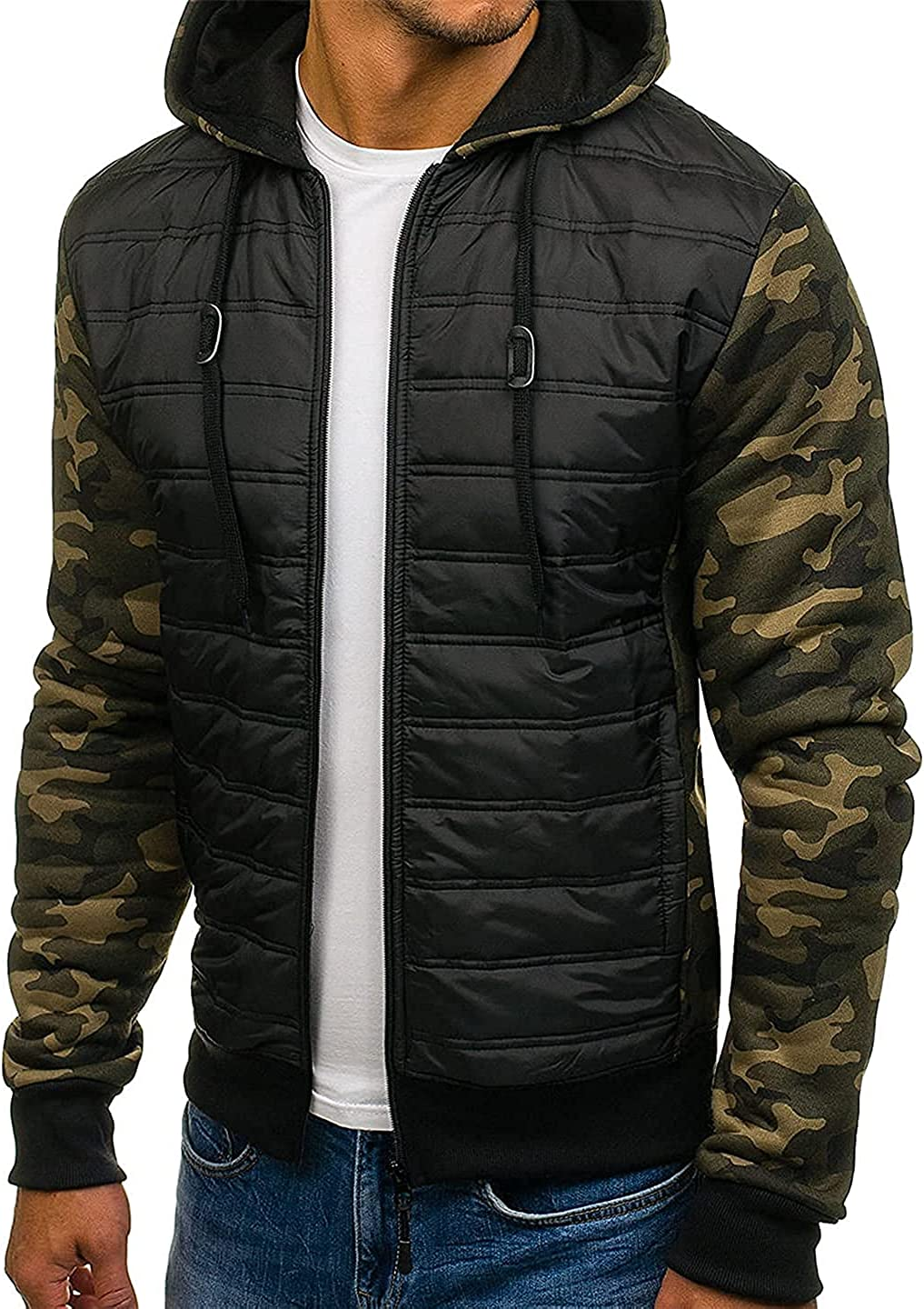 CHENX1NN Men Winter Hoodie Jacket Casual Plus Size Full Sleeve Patchwork Parka