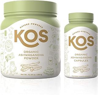 KOS Organic Ashwagandha Powder + Organic Ashwagandha Capsules Bundle