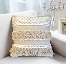 satTva Cushions - Boho Cushion Covers for Sofa 45 x 45 - Decorative Textured Throw Pillow Covers - Luxury Style White Beig...