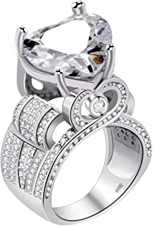 Uloveido Platinum Plated Big Love Heart Cubic Zirconia Wide Cluster Architecture Statement Rings Engagement (Size 6 7 8 9 10) Y429