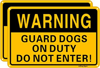 Joffreg Warning Guard Dog on Duty,Do Not Enter Sign,Dog Warning Sign,UV Protected and Weatherproof,Indoor Or Outdoor Use,2...