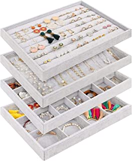 Padom Stackable Velvet Jewelry Trays Organizer, Jewelry Storage Display Trays for Drawer, Earring Necklace Bracelet Ring O...