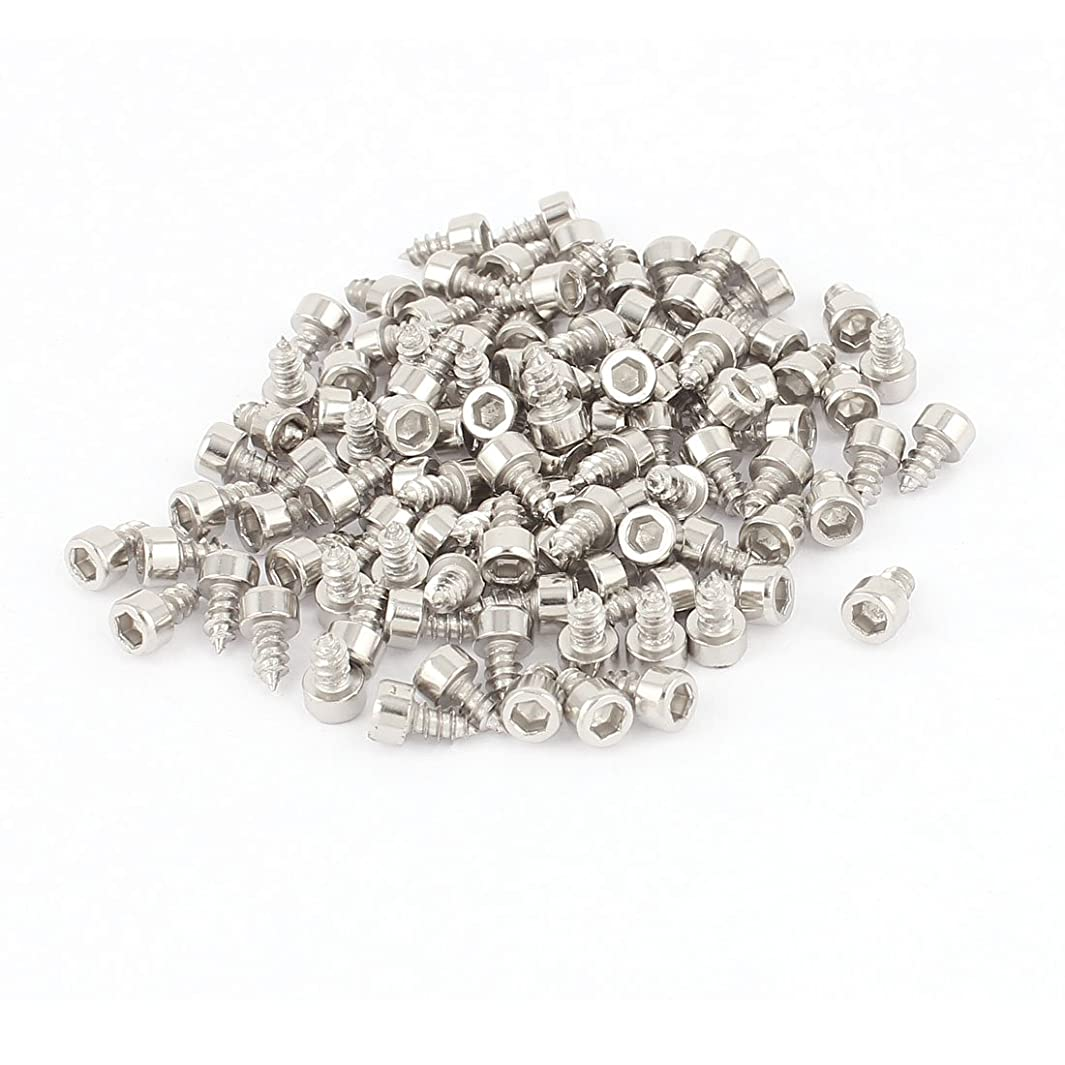 uxcell 3mm x 6mm Nickel Plated Hex Hexagon Head Self Tapping Screws 100 Pcs