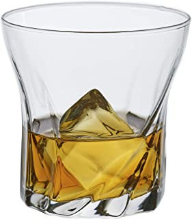 Twist Whiskey Glass Set of 6, Premium Bar Drinking Glass Tumbler for Rum, Scotch, Whisky, Cognac, Cocktails and Bourbon, Large 10 ¼ oz Lead-Free Crystal Clear