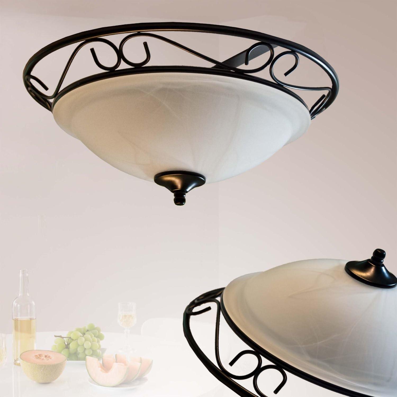 Innen Energiespar-Deckenleuchte 2 x 11 Watt Rustikale Deckenlampe im Landhausstil für den Wohnbereich